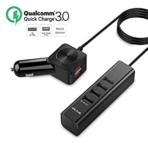 Car Charger, Jelly Comb Aluminium Quick Charger 3.0 6-port USB Smart Car Phone Charger Adapter W Clip for Multiple Backseat Charging for Samsung Galaxy S8 S7, iPhone 7, iPad, LG, HTC, Nexus and More