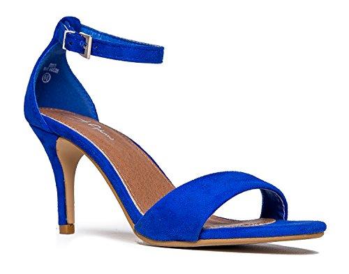J. Adams Low Ankle Strap Work Heel, Blue Suede, 7 B(M) US