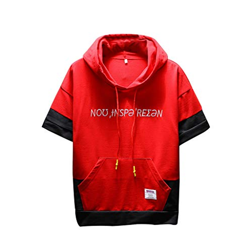 (Sanmenxia Men's Summer Casual Short Sleeve Active Lightweight Sweatshirt Hoodie Fashion Hooded T-Shirt(M,Red))