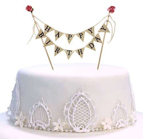 Happy Birthday Cake Topper Banner - Handmade Ivory Pennant Flag Banner Cake Topper with Wooden Polls - Perfect for cakes, donut cakes, cupcakes and more! for $<!--$8.99-->