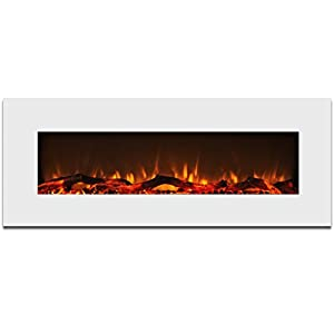 Elite Flame Ashford 50 Electric Wall Mounted Fireplace White Home Kitchen