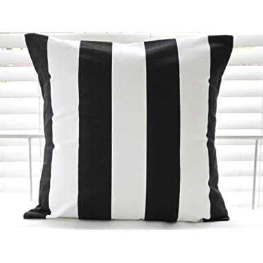 Ikea Vargyllen Striped Cushion Cover 100% Cotton Canvas Wide Stripe Black and White Cushion