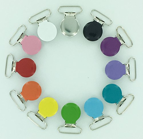 12 Enamel Round Face 1″ Suspender Clips Starter Pack with Rectangle Inserts for Soother/Paci/Pacifier/Dummy/Bib/Toy Holder Clips Review