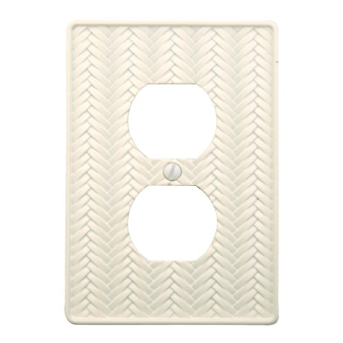 - AmerTac 89DWL Weave Cast Metal Single Duplex Outlet Wallplate, White