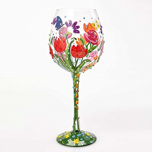 "- Designs by Lolita ""Spring Bling"" Hand-painted Artisan Super Bling Wine Glass, 22 oz."