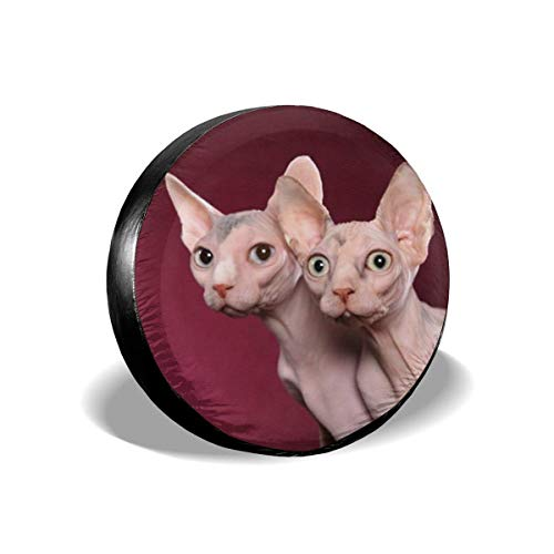 Yilad Car Tire Cover Sunscreen Protective Cover Canada Hairless Cat Sphynx Background Water Proof Universal Spare Wheel Tire Cover Fit for Trailer, RV, SUV and Various Vehicles 16 inch