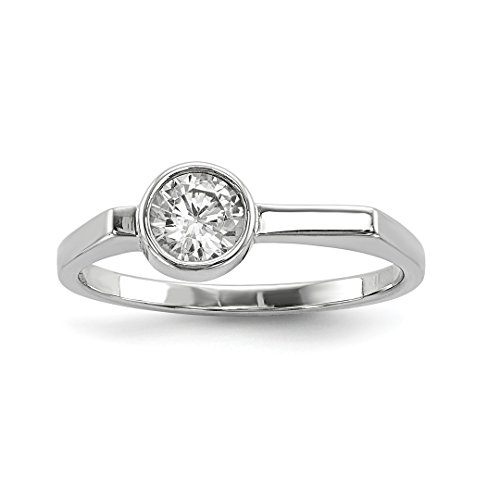 (925 Sterling Silver Round Cubic Zirconia Cz Band Ring Size 6.00 Fine Jewelry Gifts For Women For Her)