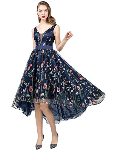 Tulle Overlay V-neck Dress - YSMei Women's High Low V-Neck Prom Dress Floral Embroidered Tulle Evening Gown Navy Blue 18Plus