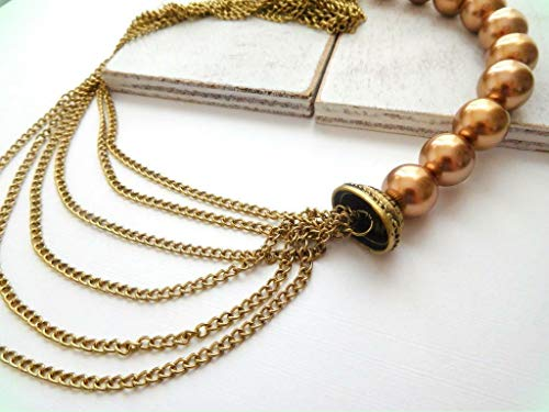 (Golden Copper Bead Draped Gold Tone Multi-Chain Layered Necklace for Women S6)