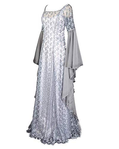 LY-VV Women Renaissance Medieval Costume Victorian Retro Gown Floor Length -