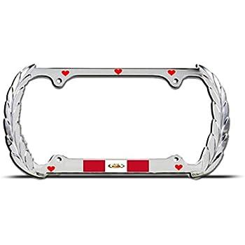 PROUD PERUVIAN AMERICAN Chrome License Plate Frame PERU PRIDE AUTO SUV Tag