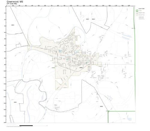 ZIP Code Wall Map of Greenwood, MS ZIP Code Map Not Laminated (Greenwood City Zip)