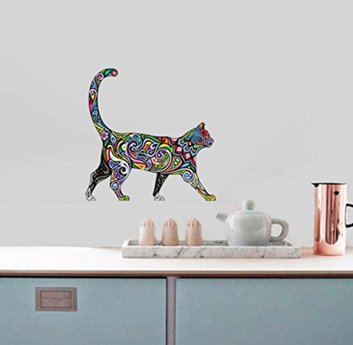 [1 PC 4040cm Waterproof Cute Walking Cat wall stickers home decor living room bedroom Car Multi Use Wall Stickers] (Cute Halloween Names For Kittens)