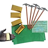 Mining Party Favors for 12: Pickaxe Pencils (12), MINI Gold Bar Boxes - 3 Inch (12), Green Paper Favor Bags (12) and Party Game Ideas (Bundle of 4 Items) Total 37 pieces