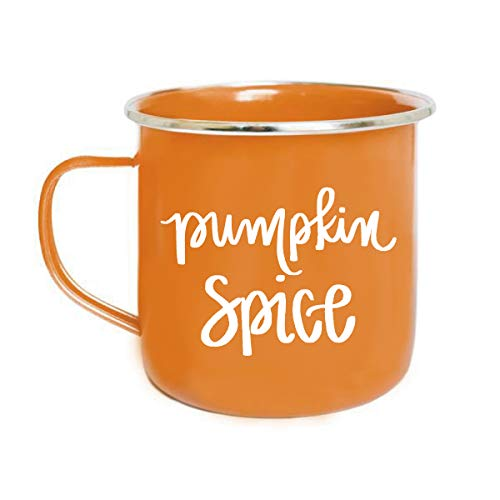 (Pumpkin Spice Campfire Mug | Large Orange Coffee Tea-Cup PSL Latte Season Gift for Her Espresso Lover Autumn Accessories Fall Halloween Decor Outdoor camping)