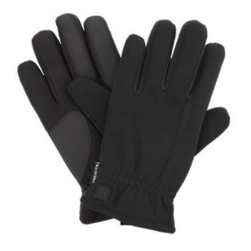 Isotoner Mens Waterproof Black Ultra Dry Mesh Snow Gloves With Ultraplush Lining