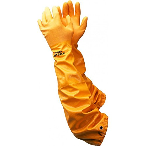 Extra Long Rubber Gloves - Showa Atlas WG772XL 26-Inch Long Sleeve Nitrile Coated Cotton Lined Work Gloves, X Large