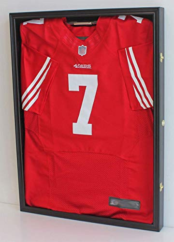 Ultra Clear PRO UV Basketball, Football, Hockey Jersey Frame Display Case, Lockable (JC01) (Black Finish)