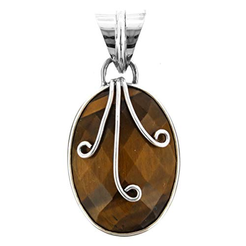 1'' Cute Oval Faceted Tiger Eye 925 Sterling Silver Pendant YE-1223 ()