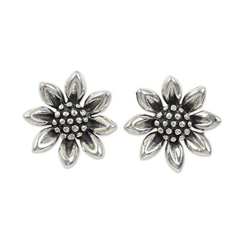 NOVICA .925 Sterling Silver Flower Stud Earrings 'Sunflower Love'