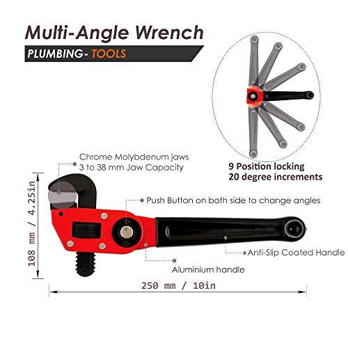 Osaava 47853 Multi Angle Pipe Wrench Adjustable Head 216 9