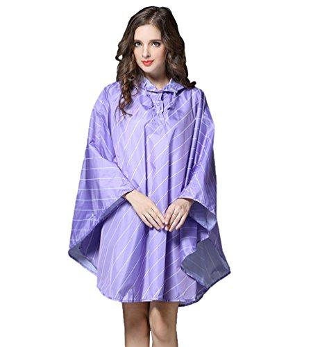 Cayuan Femmes Ponchos Pluie Vestes Coupe-Pluie pour Camping Randonne Cyclisme Lache Rayures Impermable Manteau Vestes Cape de Pluie Ultra-Lger Violet