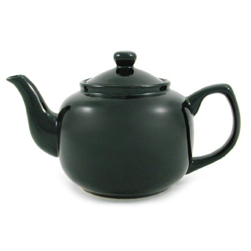 Black Classic 6 Cup Ceramic Teapot (Black Teapot And White)