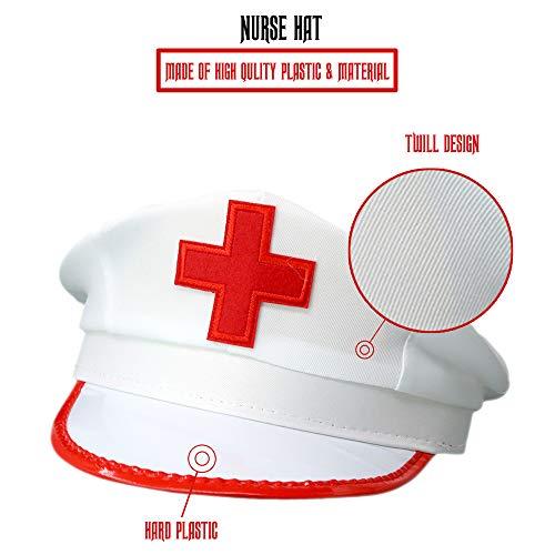 b5700056b9f Amazon.com  Skeleteeen White Nurse Costume Hat - Nurse s Red and White  Costume Cap - 1 Piece  Toys   Games