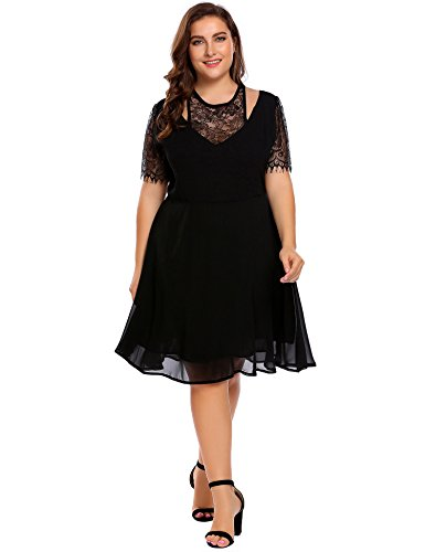 IN'VOLAND Plus Size Women Lace Chiffon A-Line Pleated Sexy Party Swing Evening Dress