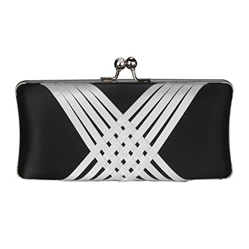 Evening Bag amp; White Cross Handbags Bag Bridal Wedding Clutch Party and a Black Chain Prom Criss with Long Short Design Satin nwCqxHI1A