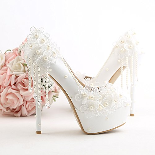 Prom Slender Fine Heel Bridal Wedding VIVIOO Flowers Fashion Sandals Shoe 5 White Flowers Heel Super 5 Bridal Pearl Beautiful Tassel Lace Shoes dPA7pO