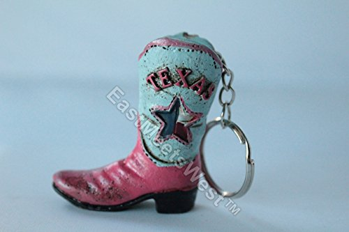 Texas Cowboy Cowgirl Boot Lone Star Key Chain Hand Painted Hanging Charm