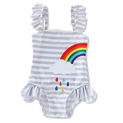 HESHENG Baby Girls Twins Matching Outfits Sister Ruffle Stripe Swimsuit Rainbow Print Bathing Suit Onesie (Left,6-12 Months)