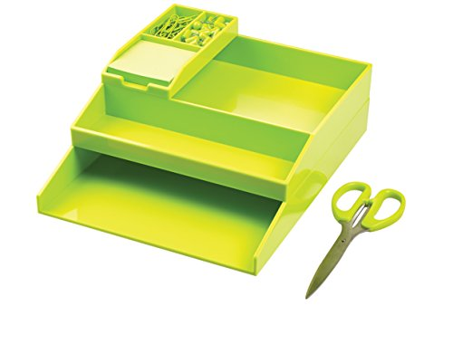 Avery CS501 ColorStak Desk Organiser Set (Two Letter Trays, Accessories Tray, Bit and Bobs Tray, Paper Clips, Board Pins, Sticky Notes) - Green
