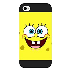 UniqueBox Customized Black Frosted SpongeBob SquarePants Patrick Star iPhone 4 4s case