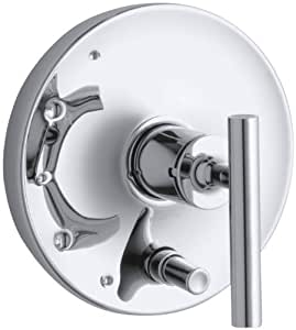 Kohler K T14501 4 Cp Purist Rite Temp Pressure Balancing Valve Trim With Lever Handles Polished Chrome Single Handle Tub And Shower Faucets