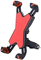 Bike Phone Mount Holder, WOTOW Universal Smart Phone Adjustable Cradle Clamp 360 Degrees Rotatable Bicycle Handlebar Motorcycle Rack for 3.5-7 inch Cell Phone GPS iPhone Samsung Galaxy HTC (Red)