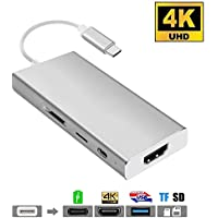USB C Hub Type C Adapter 7-in-1, HuDieM USB C Adapter/Charger USB C to USB 3.1 with Type C Charging Port, USB C to HDMI 4K Output, SD TF Card Reader,3 USB 3.0 Ports for MacBook Series,Chromebook Pixel