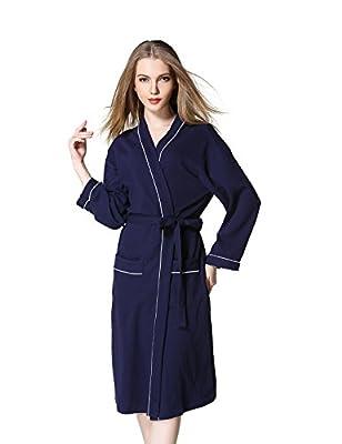 Jearey Women's Robe Cotton Waffle Kimono Spa Bathrobe Soft Long Sleeve Knee Length Lightweight Sleepwear