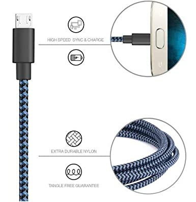 XV Micro USB Cable Android, [6.6ft/2m] Fast Charging, Nylon Braided Samsung USB Cable - Android Charger Cables for Samsung Galaxy S7/S6/J7, Moto, ...