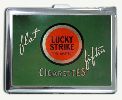 - Vintage Look Lucky Strike Flat Fifties Cigarette Case with Lighter
