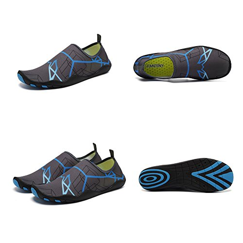 CIOR Men and Women's Barefoot Quick-Dry Water Sports Aqua Shoes With 14 Drainage Holes For Swim, Walking, Yoga, Lake, Beach, Garden, Park, Driving, Boating,DND002,Grey,43 3