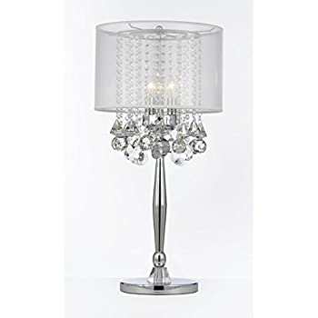 Silver Mist 3 Light Chrome Crystal Table Lamp With White Shade Contemporary Modern  Desk,Bedside