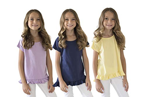 KIDIK Girls T Shirts 3Pack Coco Swing Top (Orchid/Navy/Lemonade)- L by KIDPIK