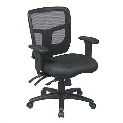 Office Star Mid Back ProGrid Back FreeFlex Seat with Adjustable Arms and Multi-Function and Seat Slider, Black Managers Chair Executive Multifunction Leather