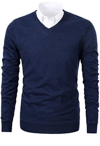 Mesahara Mens Casual Slim Fit Knit V-Neck Pullover Sweater (L, Navy) (Knit V-neck Sweater)