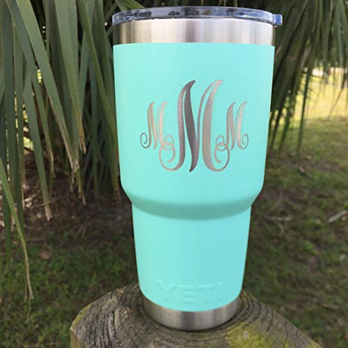 (YETI Rambler Custom Engraved w/Monogram Design New DuraCoat COLORS: White, Seafoam Green, Navy, Brick Red, Black or Original Stainless Steel)