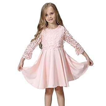 Vestidos Niña Fiesta, K-youth® Baratas Bebe Niños Ropa Bebe Niña Manga Larga Encaje Vestido Elegante de Princesa Chica 2-9 años (Rosa, 2-3 Años)