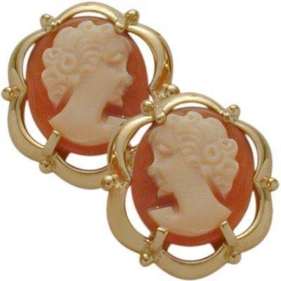 14 Karat Yellow Gold Cornelian Shell Cameo Earrings (Cornelian Shell Cameo Earrings)