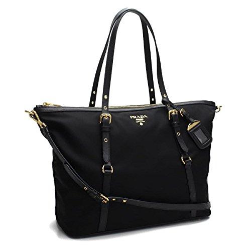 Prada Women's Tessuto Saffian Shopping Tote 1BG253 Nero (Black)